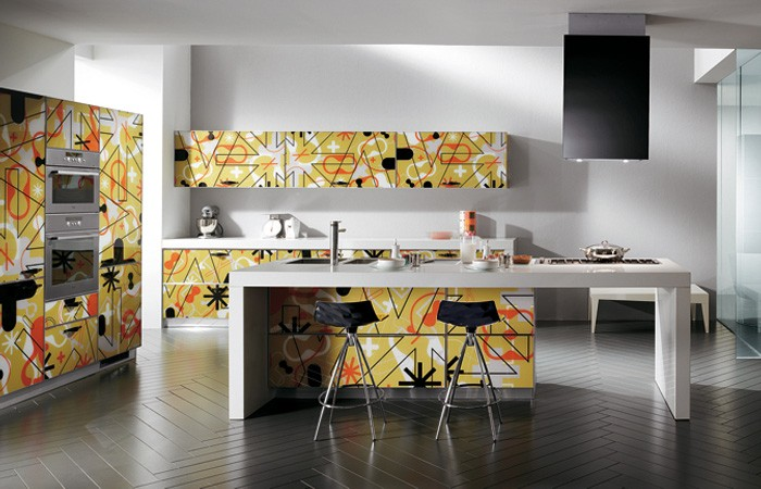 scavolini yellow graphic print kitchen cabinets