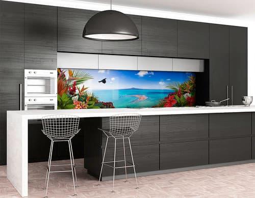 Printed Glass Kitchen Backsplash