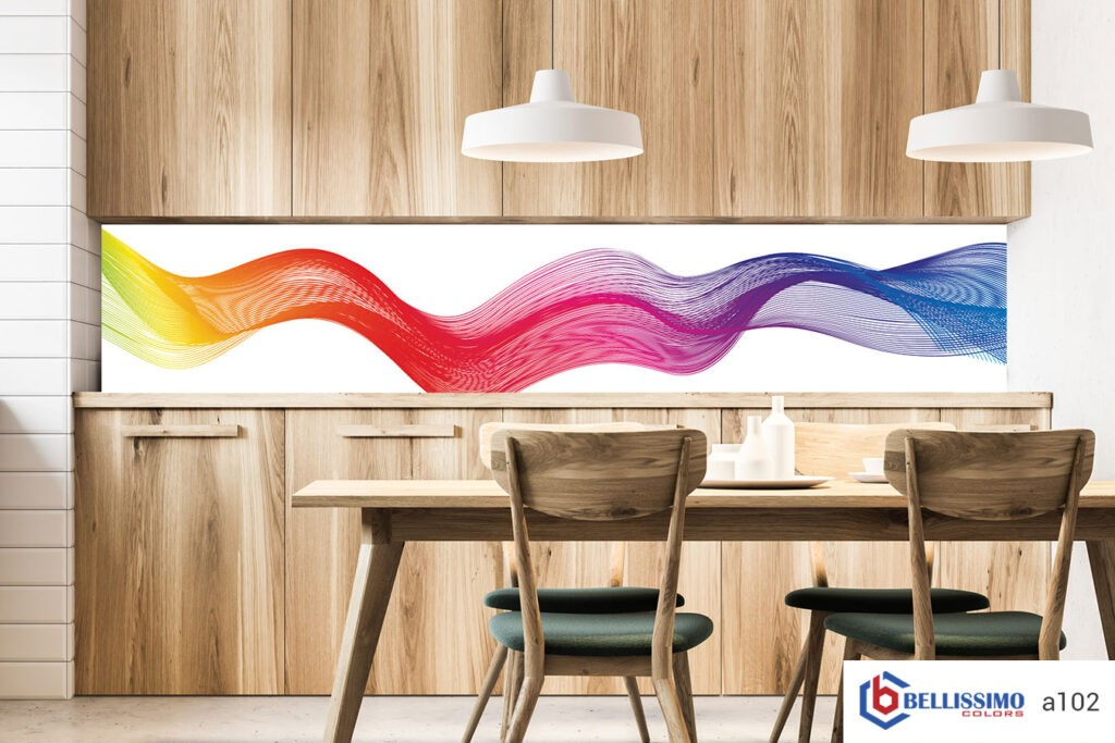 Wood dining room organic shapes glass backsplash