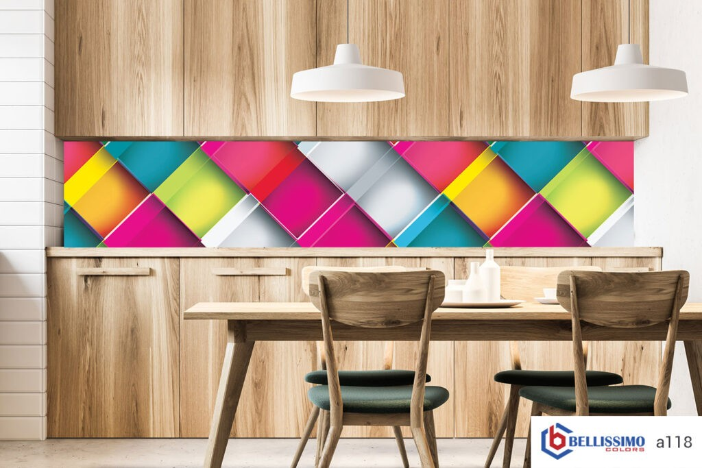 Wooden kitchen and dining room Geometric patterns glass backsplash