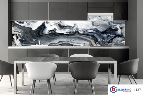 Marble backslash gray kitchen
