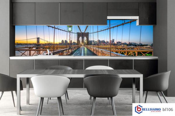 Brooklyn Bridge glass backsplash Modern kitchen interior