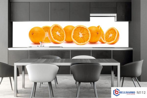 sliced orange custom glass backsplash