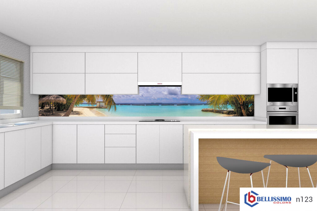 Tropical beach custom glass backsplash