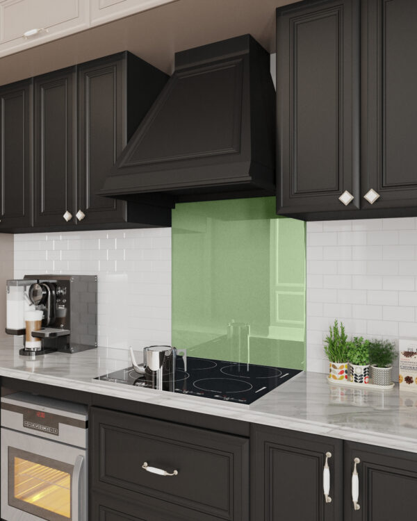 pale-green stove glass backsplash