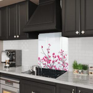 Plum Blossom stove glass backsplash
