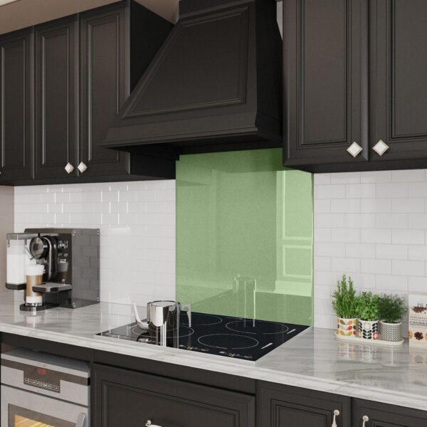 Pale Green Stove Glass Backslash white kitchen