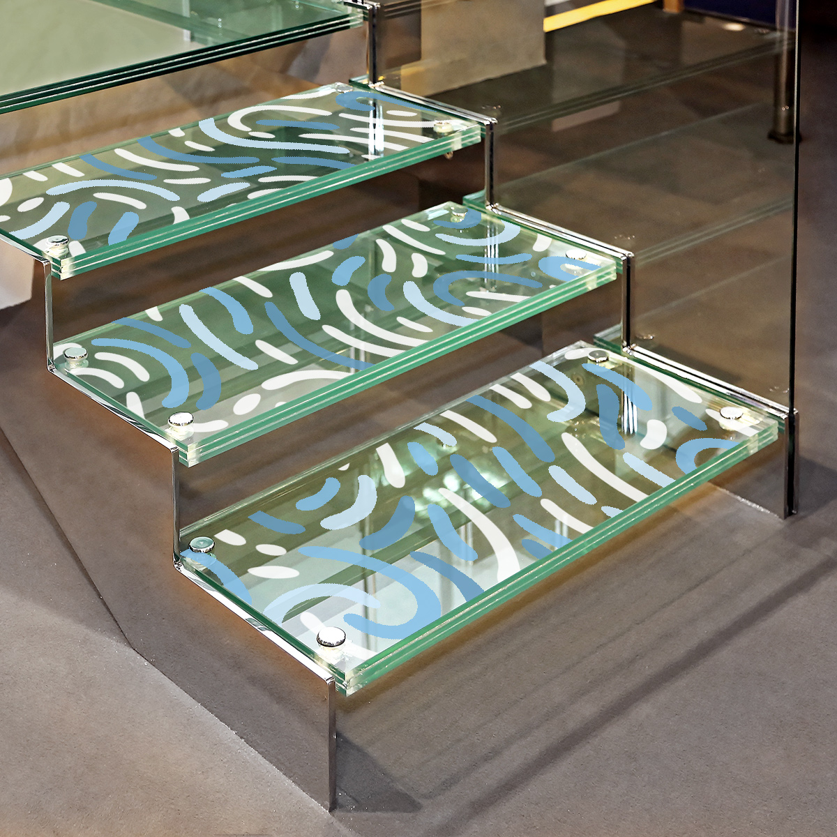 Decorative glass steps