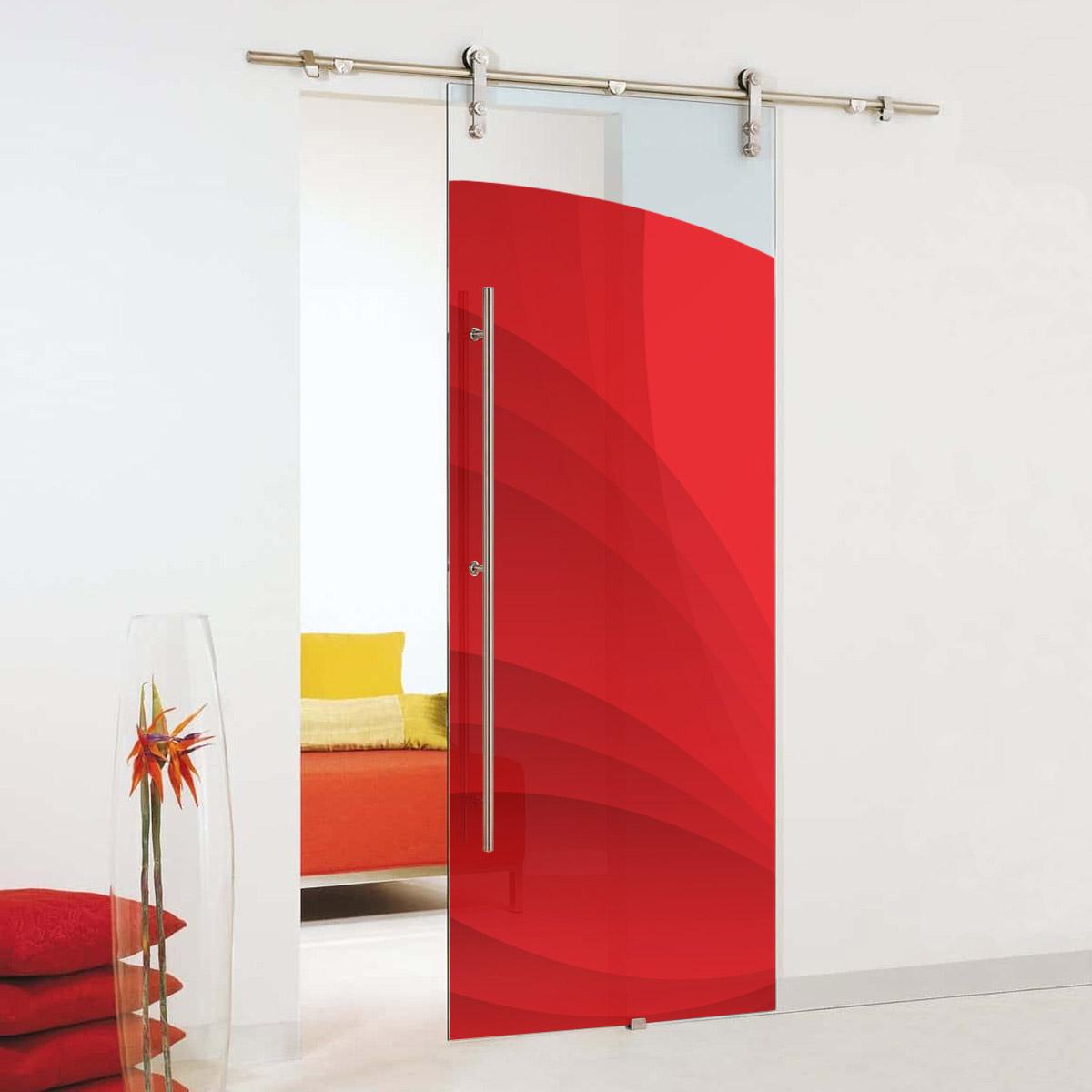 red sliding glass barn doors